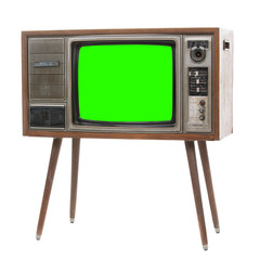 Vintage TV : old retro TV with green scren .