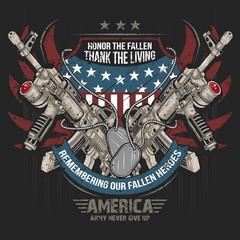 AMERICA MACHINE GUN AND USA ARMY FLAG EDITABLE LAYERS VECTOR