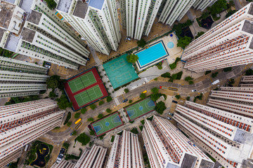 Fototapete - Top view of Hong Kong residential district