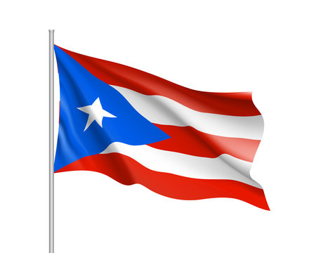 Waving flag of Puerto Rico in Caribbean sea. Illustration of Caribbean country flag on flagpole. Vector 3d icon isolated on white background