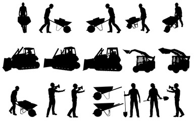 CONSTRUCTION WORKERS AND EQUIPMENT SILHOUETTES COLLECTION