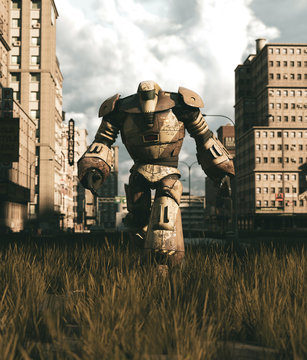 An old Robot walking in abandoned city,3d rendering