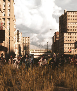 Group of Zombies in abandoned city,3d rendering