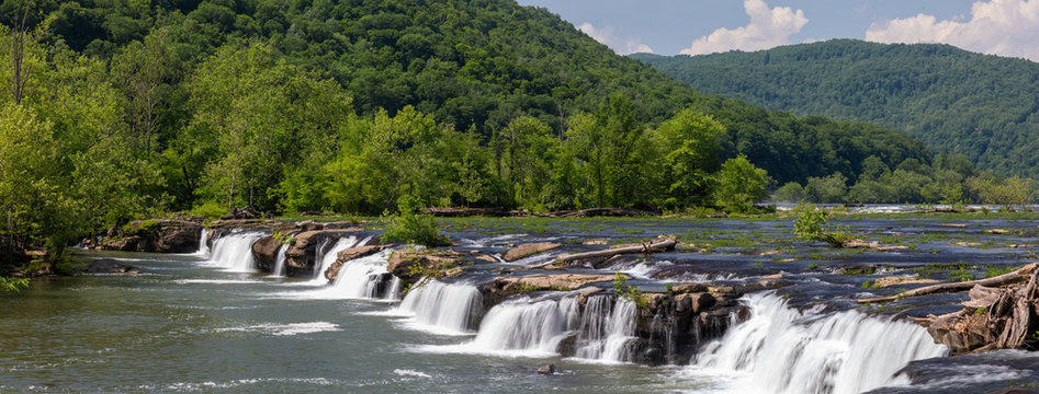 The Sandstone Falls, in the New River, during summer, located at Shady Spring, West Virginia, United States of America