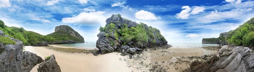 Panorama landscape of Island and sand beach at Songpeenong Beach Ko Paluai ,Mu Ko Ang Thong...