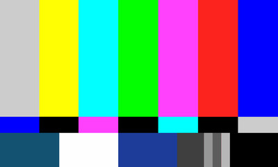 Full HD Size 16:9 , Television Test Of Stripes . Signal TV  Pattern Test Or Television Color Bars Signal. End Of The TV ColorS Bars For Background.