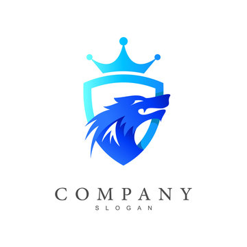 shield logo, shield logo and wolf with a crown, security logo with a shield as a symbol