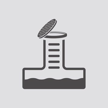 Sewerage icon in flat style.Vector illustration.