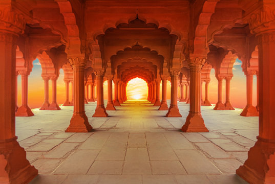 interiors of Red Fort in Delhi at sunset, India