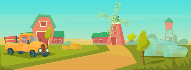 Wall Murals Green coral Agriculture. Farm rural landscape with orange truck, red barn, house and ranch, water tower and haystack.