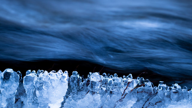 Water flowing with ice lobes