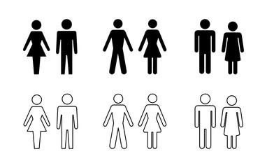 Obraz sylwetka mężczyzny i kobiety zestaw ikon - fototapety do salonu