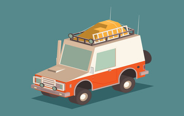 Vector isometric off-road SUV car with roof rack and offroading equipment