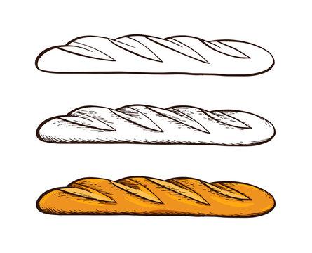 Set of hand drawn vector. White bread. Baguette. Color vintage engraving illustration for poster, label and menu bakery shop.
