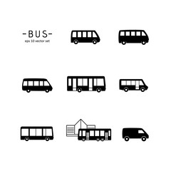 Bus - vector icon set.