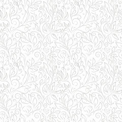 Classic floral vector seamless pattern. Hand drawn gray contours of abstract flowers and leaves on white background. Ornate template for design, textile, wallpaper, clothing, ceramics.