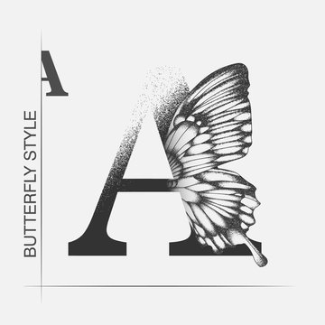 Letter A with butterfly silhouette. Monarch wing butterfly logo template isolated on white background. Calligraphic hand drawn lettering design. Alphabet concept. Monogram vector illustration