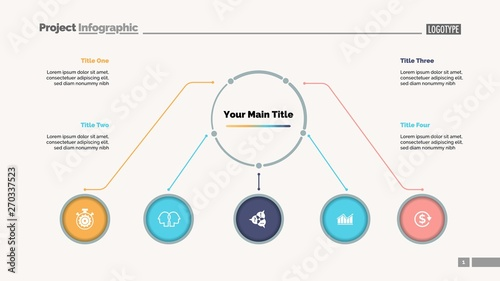 Flowchart with five elements slide template  Business data