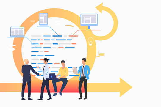 Scrum team discussing tasks. Arrow, report, working on laptop, conversation. Business concept. Vector illustration can be used for topics like agile management, teamwork, communication