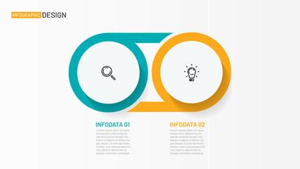 Circle infographic design template. Business concept with 2 options, steps, circles and marketing icons. Can be used for workflow layout, diagram, annual report, poster. Wall mural