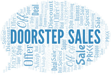 Doorstep Sales Word Cloud. Wordcloud Made With Text.