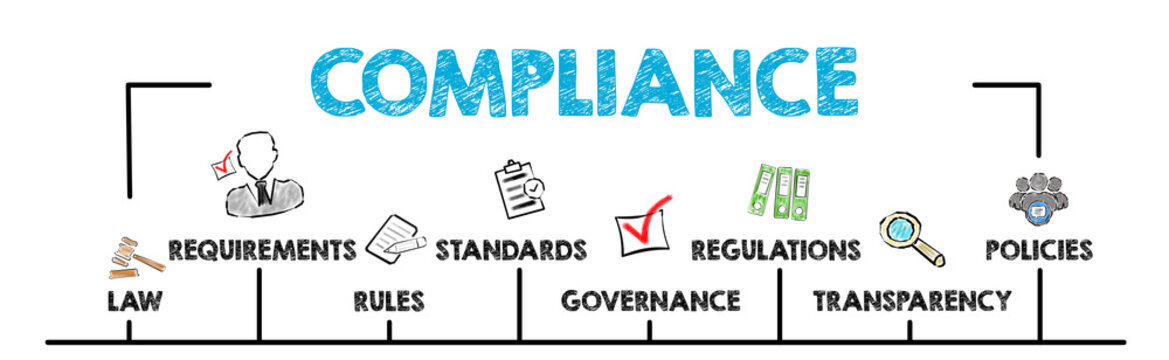 Compliance Concept. Chart with keywords and icons