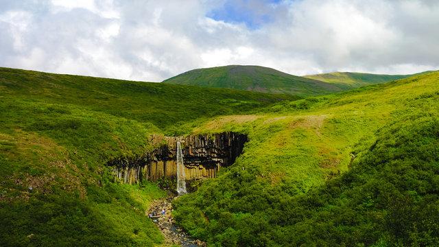 Svartifoss waterfall in the Skaftafell national park , Iceland