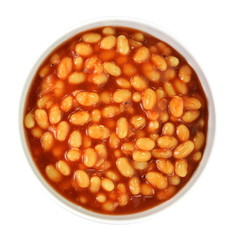Tinnes beans top view on white. Open can of beans on a white background. Baked Beans - Baked beans in tomato sauce.