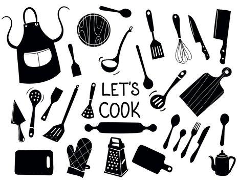 Lets Cook - Kitchen silhouette doodle vector icon set