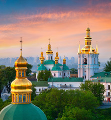 Garden Poster Kiev Beautiful summer sunrise of Kiev Pechersk Lavra Orthodox Monastery. Great morning view of Kiev, capital of Ukraine, Europe. Traveling concept background.