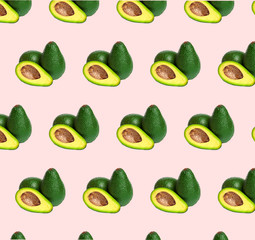 Avocado pattern on color background. Top view. Banner. Pop art design, creative summer food concept
