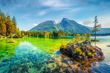 Splendid summer scene of Hintersee lake. Colorful morning view of Austrian Alps, Salzburg-Umgebung district, Austria, Europe. Beauty of nature concept background.