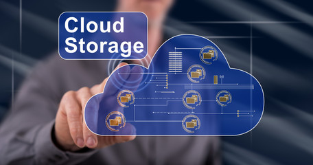 Man touching a cloud storage concept