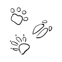 Vector set of animal tracks. sketch style. wolf, fox, boar, bear