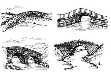 Stone bridges set. A collection of bridges over rivers design elements