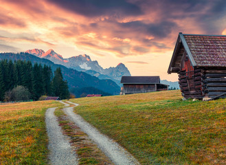 Dramatic morning view of Zugspitze mountain range, Wagenbruchsee (Geroldsee) lake lacation. Beautiful autumn view of Bavarian Alps, Germany, Europe. Beauty of nature concept background. Wall mural
