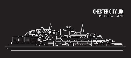 Cityscape Building Line art Vector Illustration design -  Chester city ,UK Fotomurales