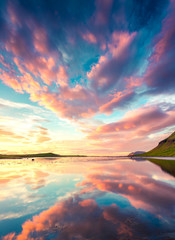 Türaufkleber Nordlicht Colorful summer sunset near Grundarfjordur town. Evening scene on the Snaefellsnes peninsula, Iceland, Europe. Beauty of nature concept background.