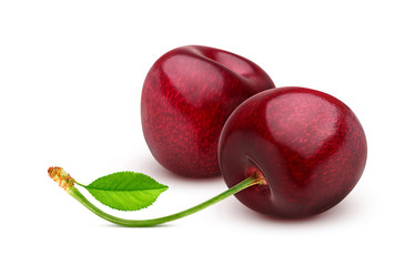 Fototapeten Kirschblüte Cherry isolated on white background with clipping path