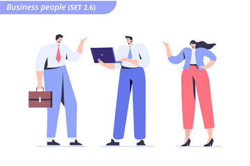 Wall Mural - Male and female Business people.   Flat vector characters isolated on white background.