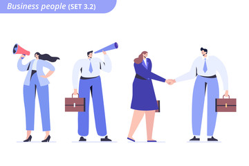 Wall Mural - Male and female Business people.   Hand shake. Business agreement. Business man looking into a telescope. Flat vector characters isolated on white background.