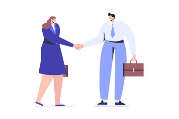 Wall Mural - Business people man and woman shake hands. Business agreement and completed the deal with a handshake. Flat  Vector illustration isolated on white.
