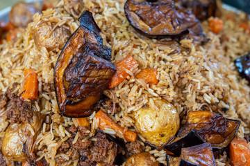 Close up of Maqluba arab dish