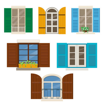 Open windows with shutters