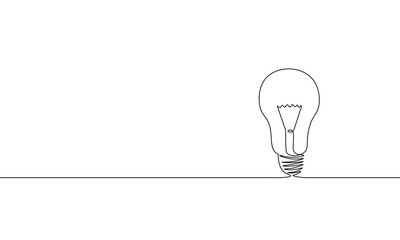 Single continuous one line art idea light bulb. Creative solution team work lamp concept design sketch outline drawing vector illustration