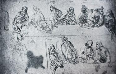 Sketches for the Last Supper by Leonardo Da Vinci in a vintage book Leonard de Vinci, author A. Rosenberg, 1898, Leipzig