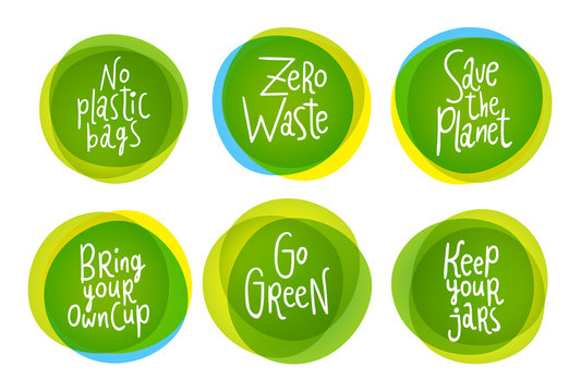 Go green lifestyle style vector labels  set with six stickers