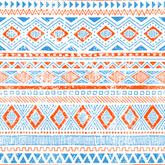 Cute ethnic seamless pattern. Tribal and aztec motifs. Grunge texture. Vintage print for textiles. Blue, orange and white colors. Vector illustration.
