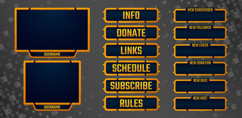 Set of rusty orange gaming panels and overlays for live streamers. Old metal alerts and buttons. 16:9 and 4:3 screen resolution. Eps10 vector