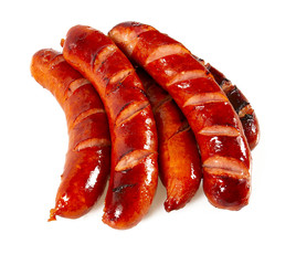 Grilled sausages isolated on a white background